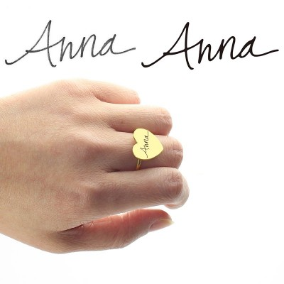 Gold Heart Signet Ring With Your Signature - The Handmade ™
