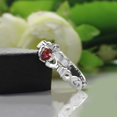 Ladies Claddagh Rings With Birthstone Name White - The Handmade ™