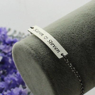 Engraved Name Bar Bracelet For Her Silver - The Handmade ™