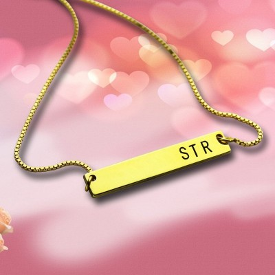 Initial Bar Necklace Gold - The Handmade ™