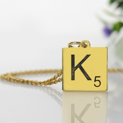 Engraved Scrabble Initial Letter Necklace Gold - The Handmade ™