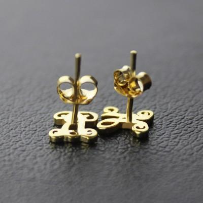 Single Monogram Stud Earrings Gold - The Handmade ™