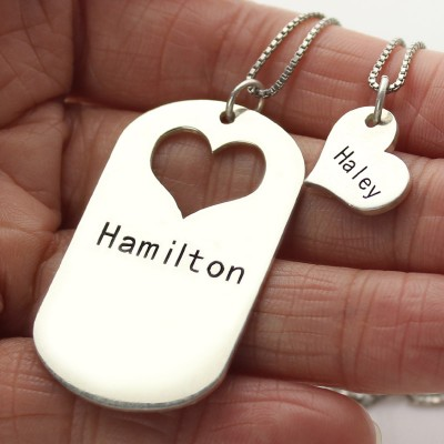 Couples Name Dog Tag Necklace Set with Cut Out Heart - The Handmade ™