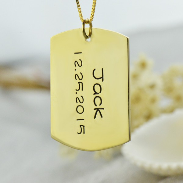 ID Dog Tag Bar Pendant with Name and Birth Date - The Handmade ™