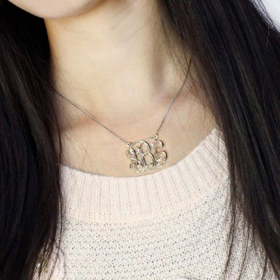 Cube Monogram Initials Necklace Silver - The Handmade ™