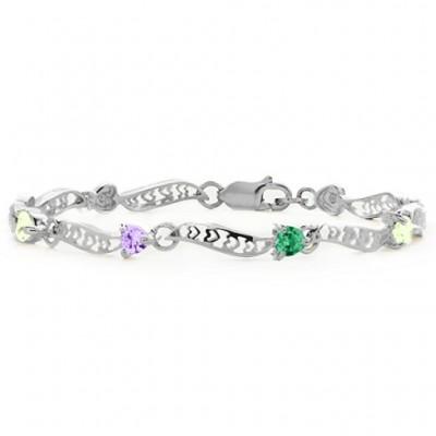 Embedded Hearts 1-8 Stones Bracelet - The Handmade ™