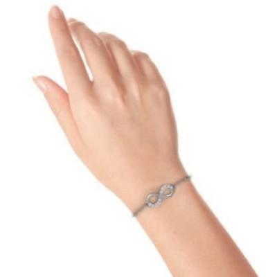 Silver Birthstone Accent Infinity Bracelet - The Handmade ™