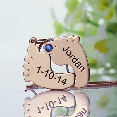 Engraved Baby Feet Imprint Necklace with Date Name Rose Gold - The Handmade ™