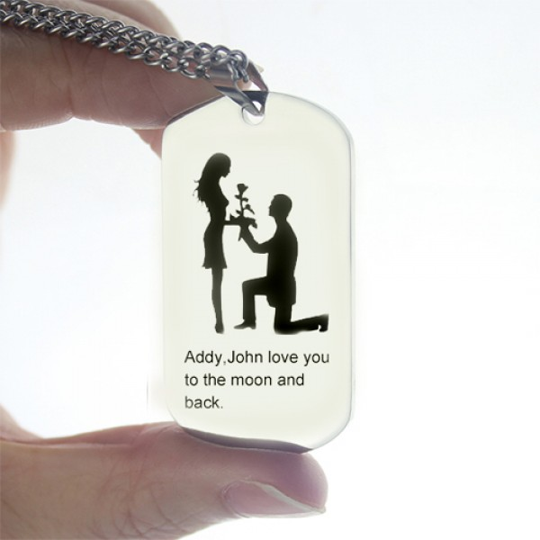 Marriage Proposal Dog Tag Name Necklace - The Handmade ™