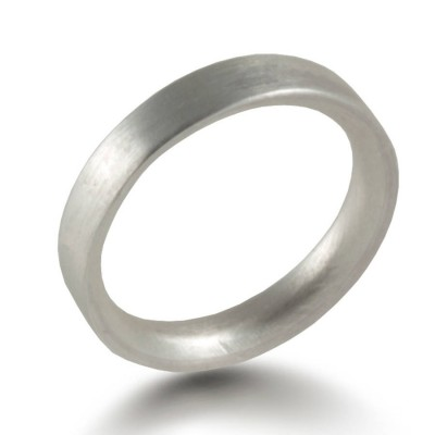 3mm Brushed Matte Flat Court Silver Wedding Ring - The Handmade ™