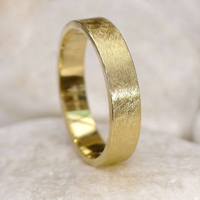 Mens Wedding Ring In Gold, Urban Finish - The Handmade ™