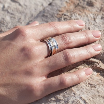 Karma Bronze And Silver Spinning Ring - The Handmade ™