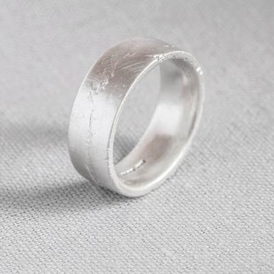Silver Flat Sand Cast Wedding Ring - The Handmade ™