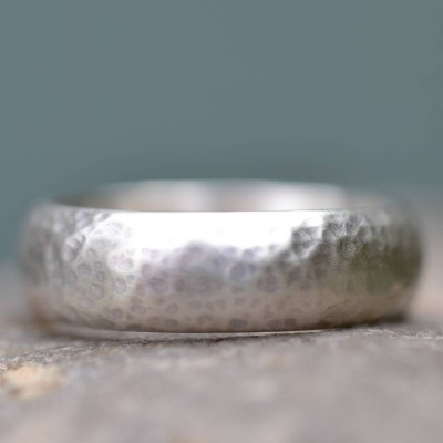 Silver Wedding Ring Lightly Hammered Finish - The Handmade ™