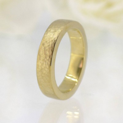 His And Hers Hammered Wedding Ring Gold Set - The Handmade ™