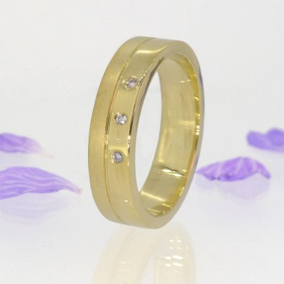 Mens Contemporary Diamond Ring In Gold - The Handmade ™