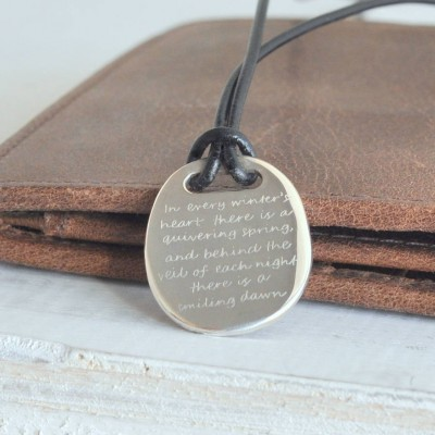 Mens Silver Quote Necklace - The Handmade ™