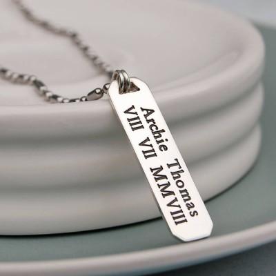 Mens Silver Vertical Bar Necklace - The Handmade ™