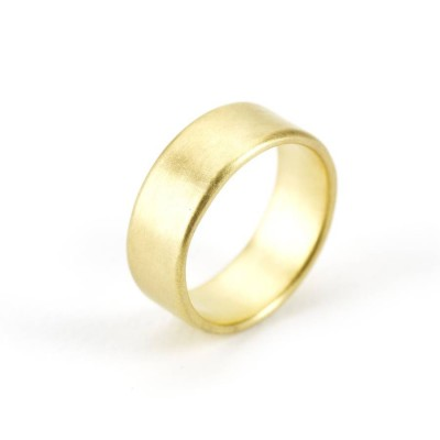 Mens Wide Brushed Pillow Wedding Ring Gold - The Handmade ™