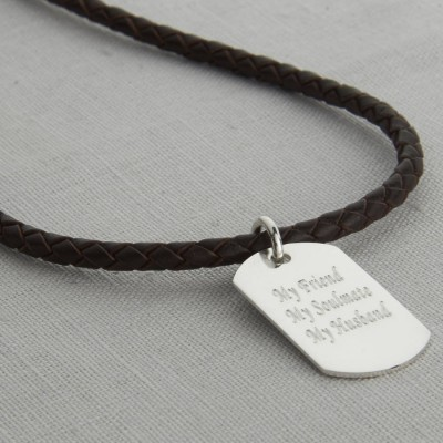 Polished Silver Dog Tag Necklace - The Handmade ™