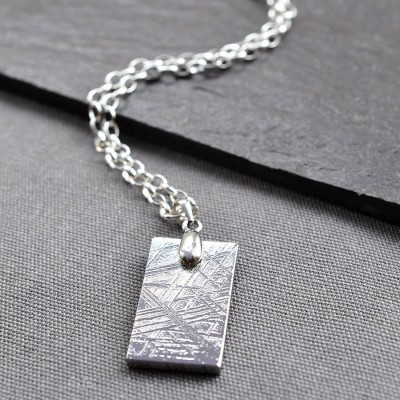 Meteorite And Silver Tag Necklace - The Handmade ™