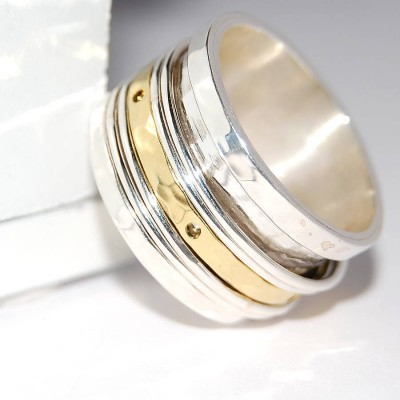 Silver And Gold Spinning Band Ring - The Handmade ™