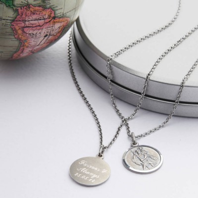 Silver St Christpher Medal Necklace - The Handmade ™
