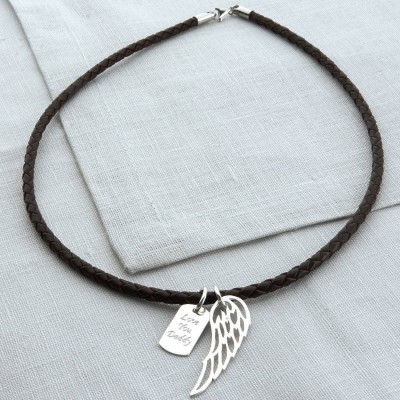 Personalised Silver Wing And Dogtag Leather Necklet - The Handmade ™
