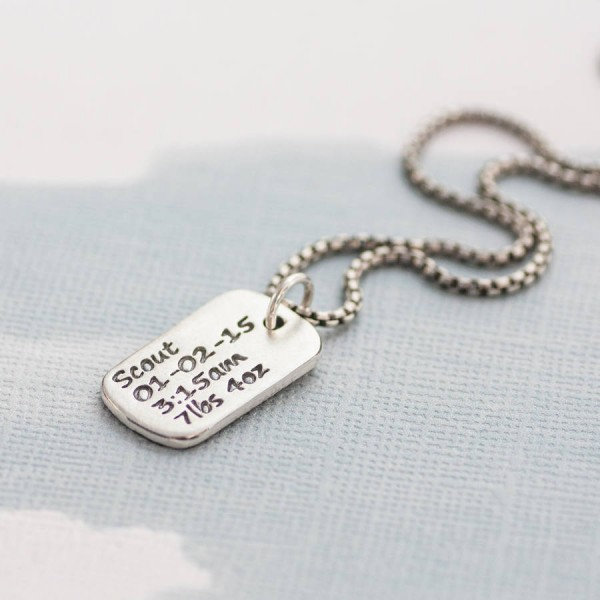 Dog Tag Necklace With Baby Birth Info - The Handmade ™