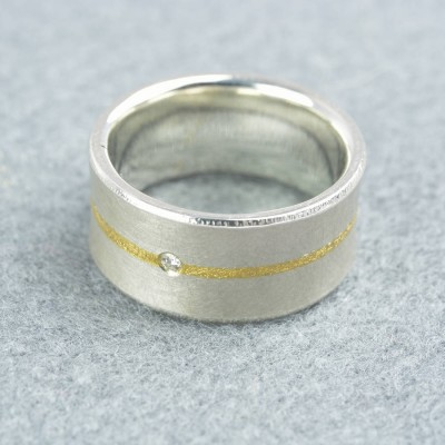 Silver And Fused Gold Diamond Ring - The Handmade ™
