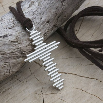 Large Silver Cross Necklace - The Handmade ™