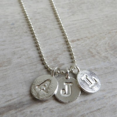 Silver Letter Charm And Ball Chain Necklace - The Handmade ™