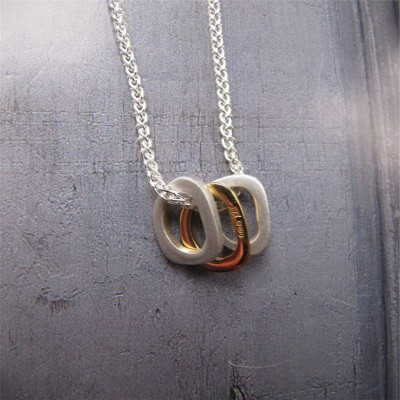 Silver Ovals Necklace With Gold - The Handmade ™
