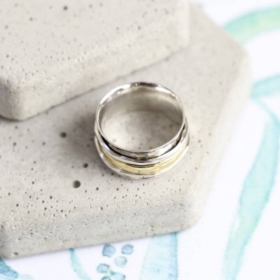 Silver And Gold Hammered Effect Spinning Ring - The Handmade ™
