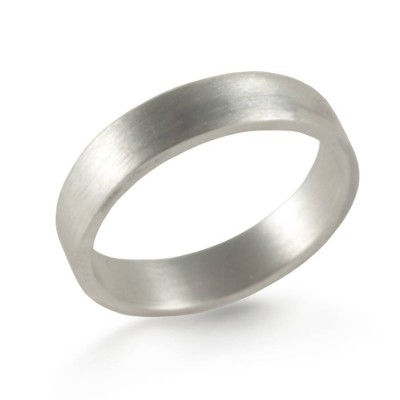 Silver Oxidized Flat Wedding Band Ring - The Handmade ™