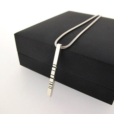 Thin Silver Barcode Pendant - The Handmade ™