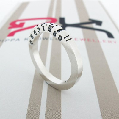 Thin Square Silver Barcode Ring - The Handmade ™
